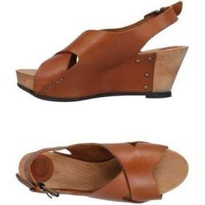 Buttero brown leather wedges size 38